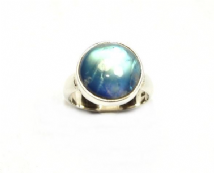 Round Rainbow Moonstone Ring Silver medium 'One-Off' size O